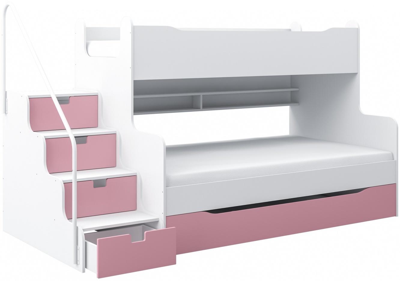 Max 4 Etagenbett mit Schubkastentreppe in Weiß/Pink Hochbett Kinderbett Bett Bild 1