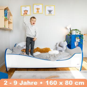 Alcube 'Swinging Blue Edge' Kinderbett 160 x 80 cm mit Rausfallschutz inkl. Lattenrost und Matratze, weiß Bild 1