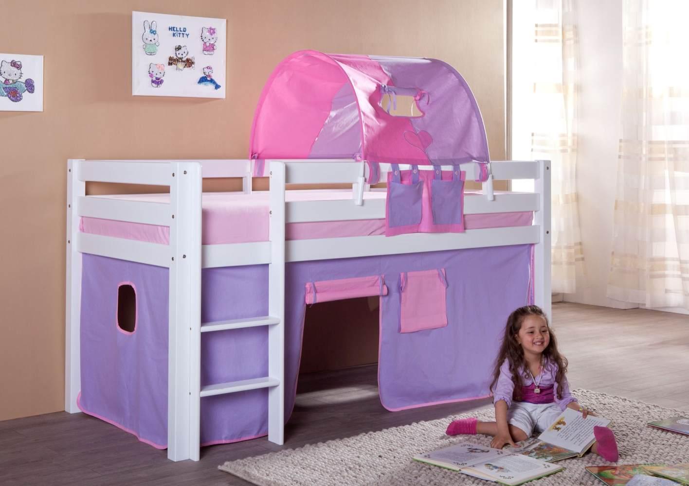 Relita Halbhohes Spielbett ALEX Buche massiv weiß lackiert mit Stoffset purple/rosa/herz Bild 1