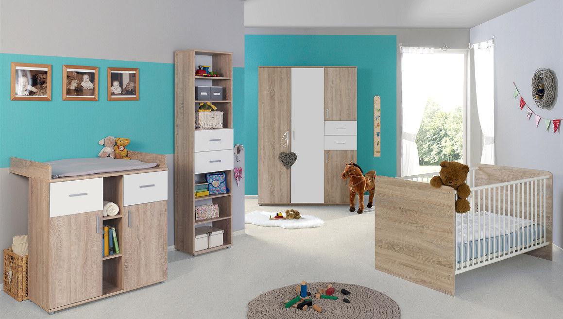 4-tlg. Babyzimmer-Set 'ELISA 4' Eiche Sonoma / Weiß Bild 1