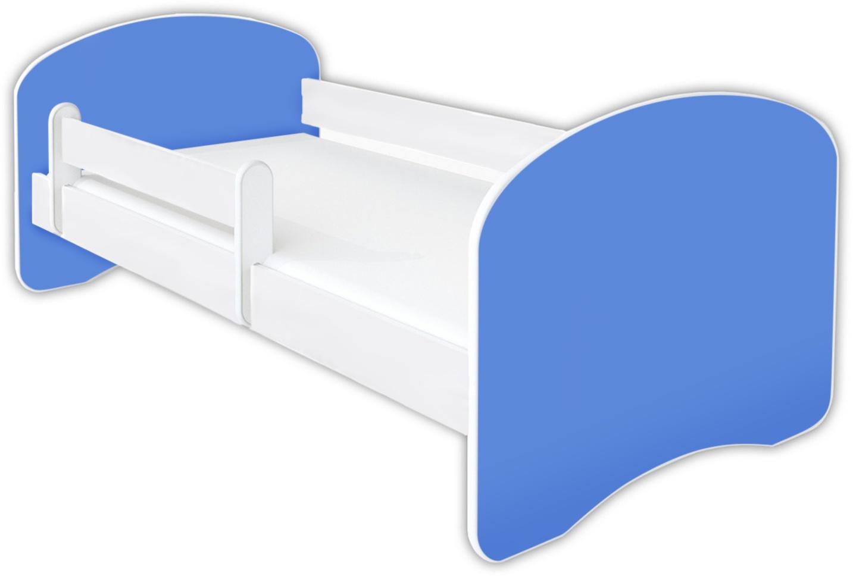 Clamaro 'Schlummerland UNI' Kinderbett 70x140 cm, Blau, inkl. Lattenrost, Matratze und Rausfallschutz (ohne Schublade) Bild 1