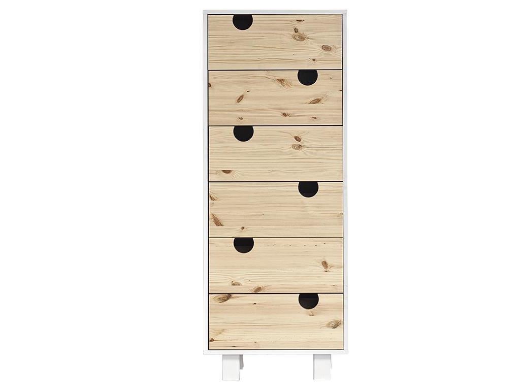 KARUP DESIGN Drawer House | Holz kommode im skandinavische Stil mit 6 Schubladen | Korpus in Weiß/Fronten in Natur | Kiefer, FSC Mix Zertifiziert, 50 x 40 x 130 cm Bild 1
