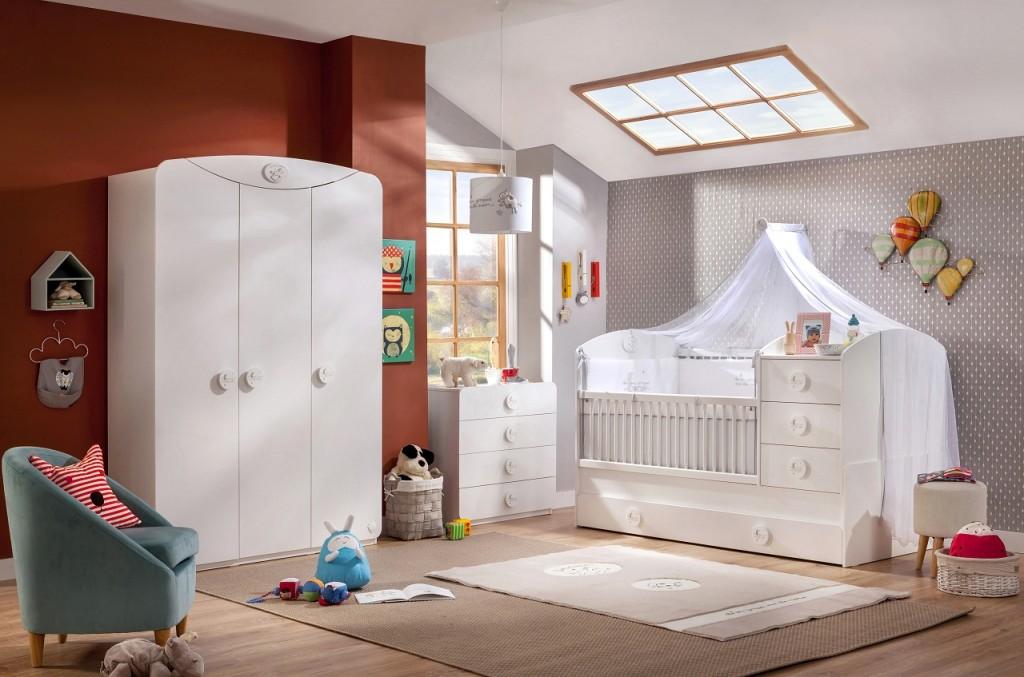Cilek 'BABY COTTON' 3-tlg. Babyzimmer-Set, weiß, Bett umbaubar 80x130/80x180 cm Bild 1