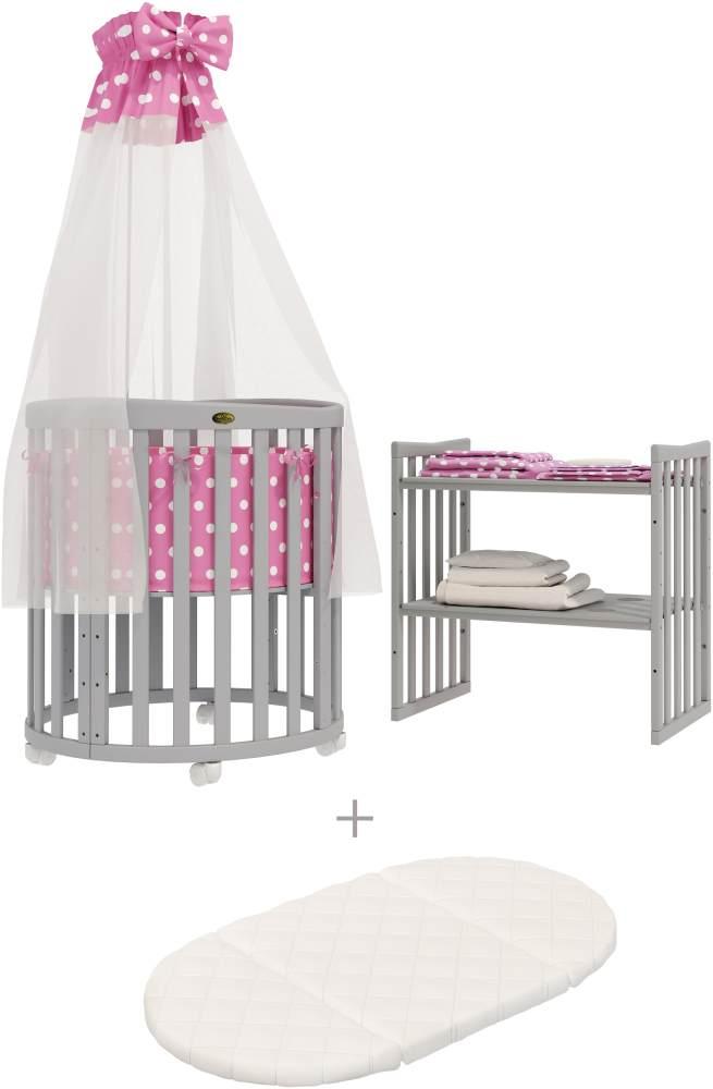 ComfortBaby 'SmartGrow 7in1' grau inkl. Bettset rosa mit weißen Kreisen Bild 1