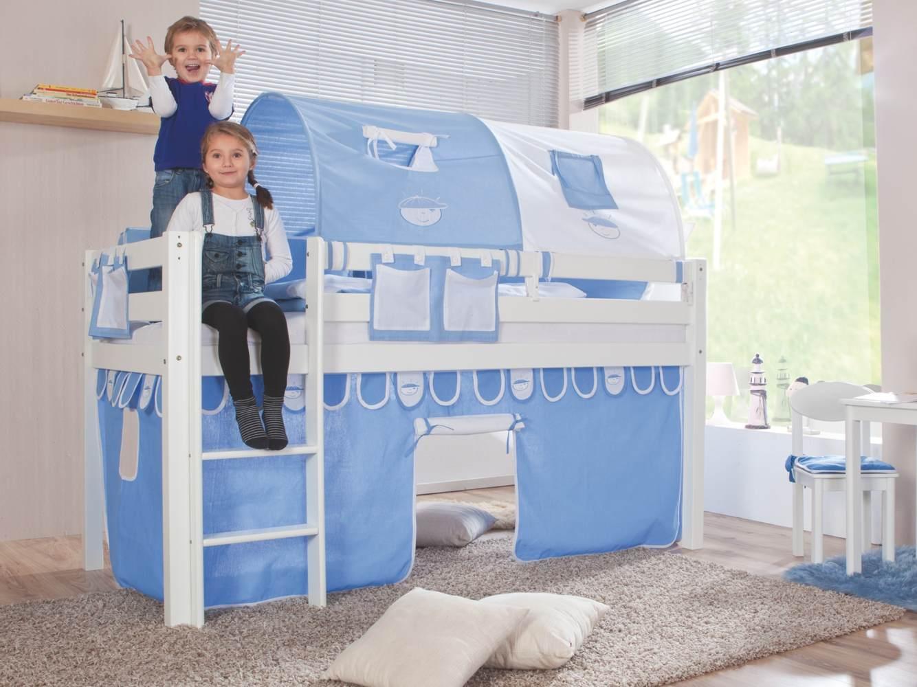 Relita Halbhohes Spielbett ALEX Buche massiv weiß lackiert mit Stoffset blau/boy Bild 1