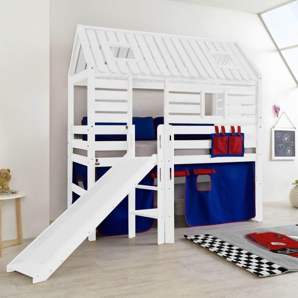 Relita 'Tom´s Hütte' Hochbett mit Rutsche, Buche massiv weiß lackiert,Textilset blau/rot Bild 1