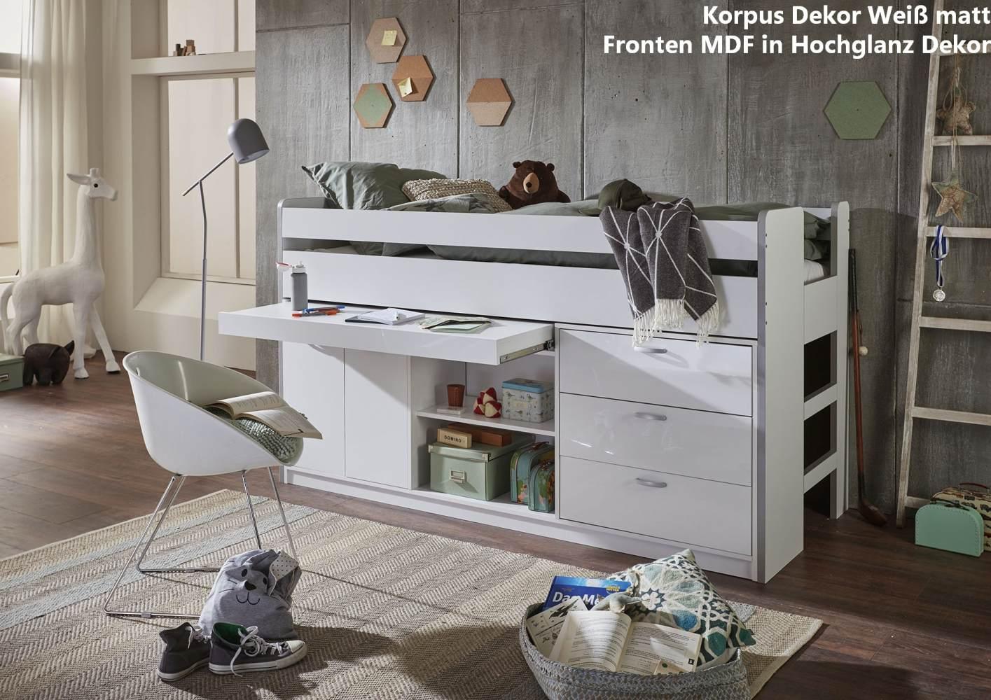 Relita 'Bonny' Hochbett 90x200 cm, Weiß/Weiß Hochglanz Bild 1