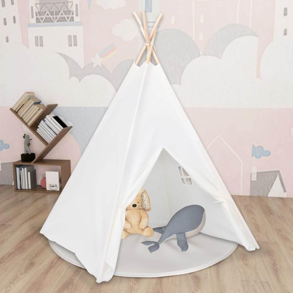 vidaXL Kinder Tipi-Zelt mit Tasche Pfirsichhaut Weiß 120x120x150 cm Bild 1