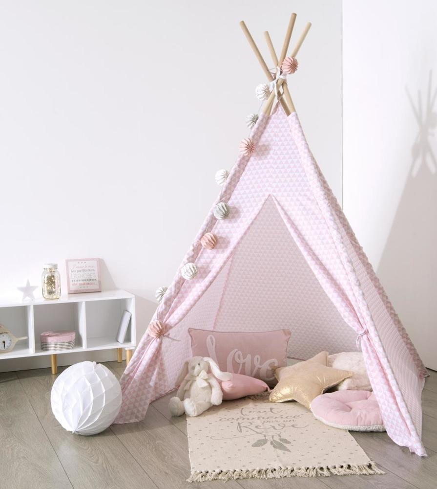 Zelt für Kinder, INDIAN, TIPI, 120 x 120 x 160 cm Rosa Bild 1