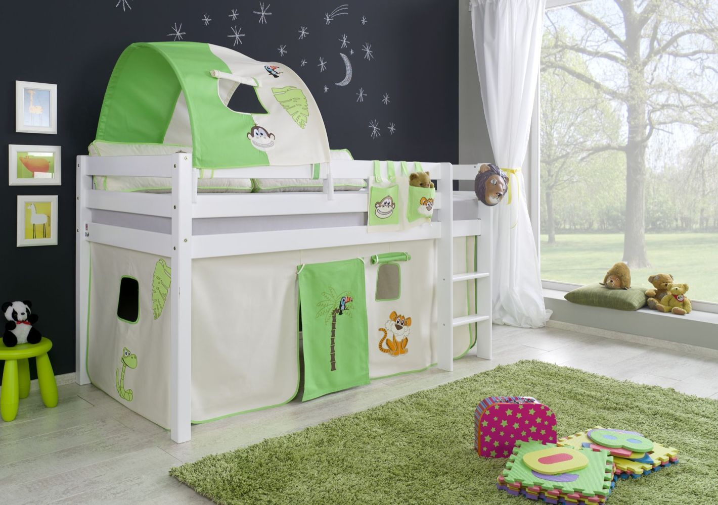 Relita Halbhohes Spielbett ALEX Buche massiv weiß lackiert mit Stoffset Vorhang, 1-er Tunnel und Tasche Bild 1