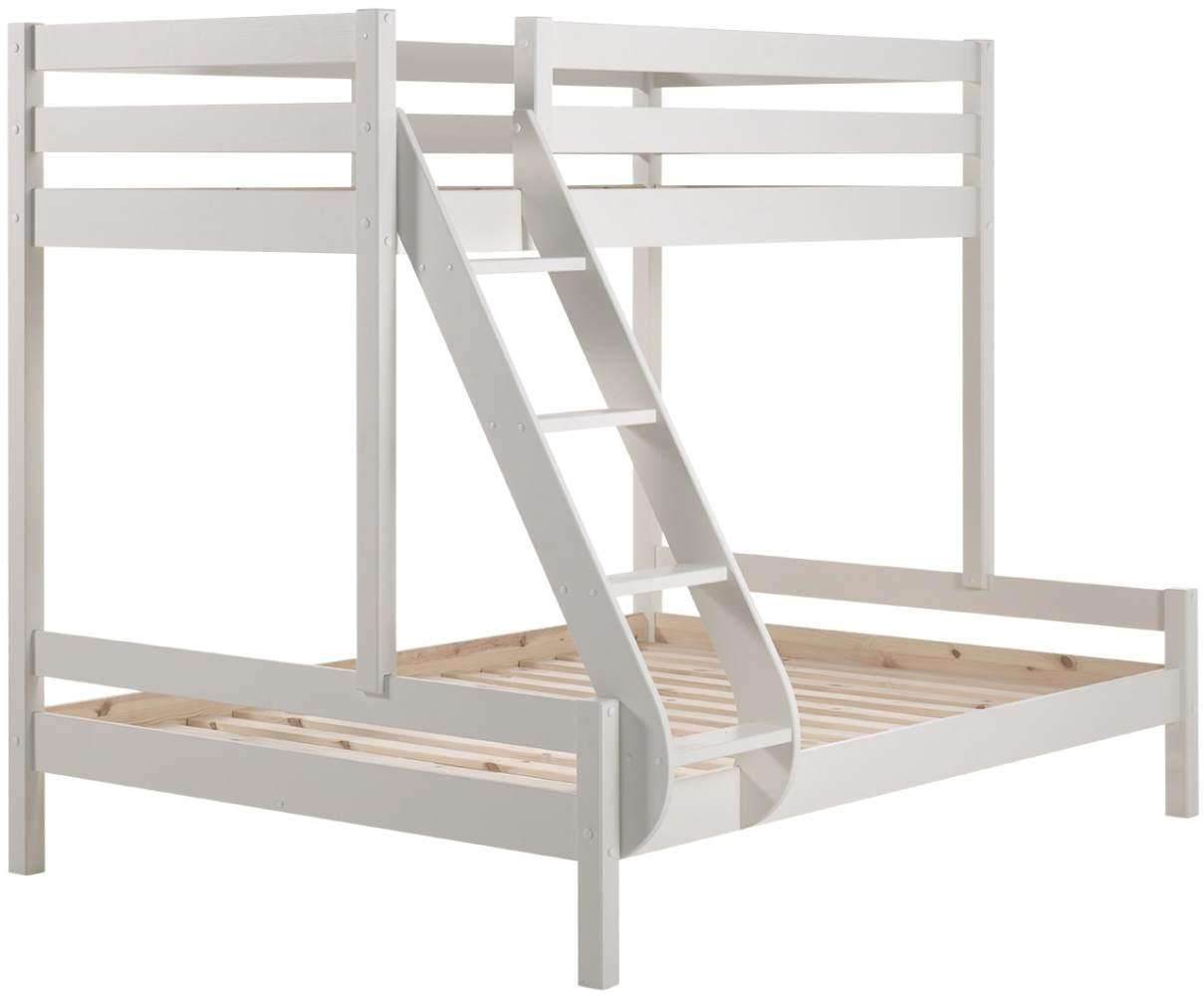 Vipack 'Martin' Etagenbett, weiß, 90x200/140x200 cm, Kiefer massiv, inkl. Lattenroste Bild 1