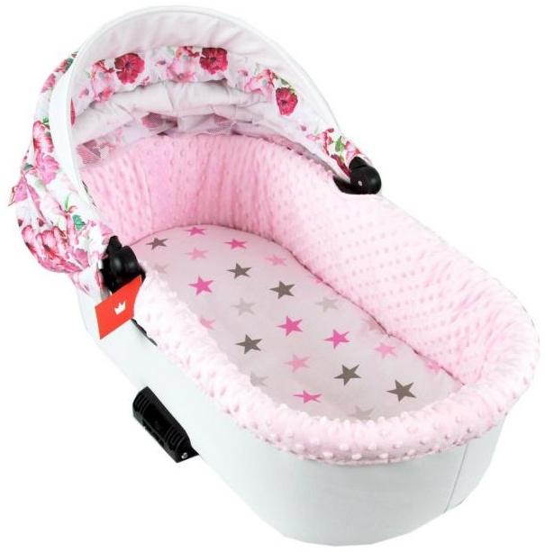 BABYLUX Spannbettlaken für Kinderwagen Spannbetttuch Bettlaken 93. Sterne Rosa Bild 1