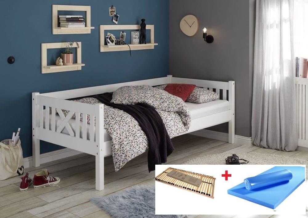 Bega 'Trevi' Kinderbett 90x200 cm, weiß, Kiefer massiv, inkl. Lattenrost und Matratze (blau) Bild 1