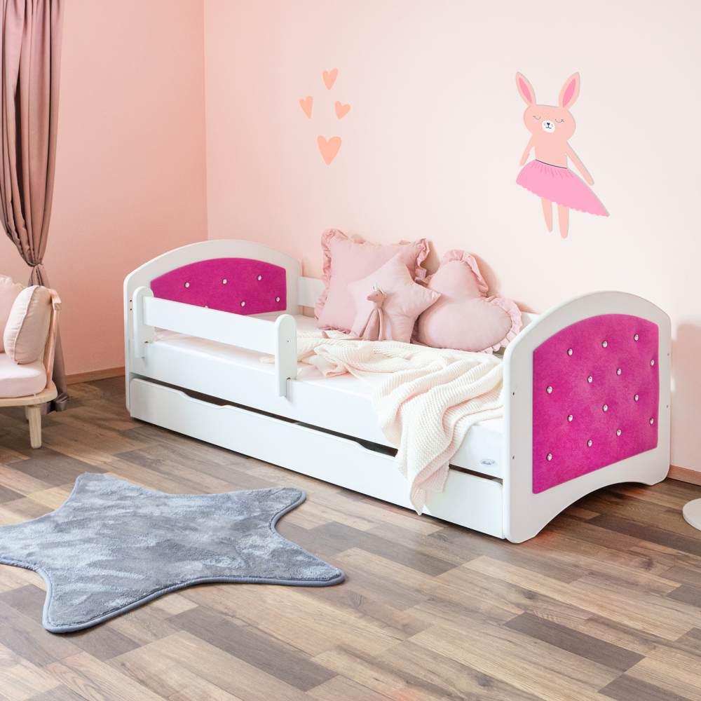 Hier funkeln Diamanten! ALCUBE Kinderbett 160x80 JASMIN- Mädchen Bett mit Rausfallschutz, Matratze & Schublade in Pink/Weiß Bild 1