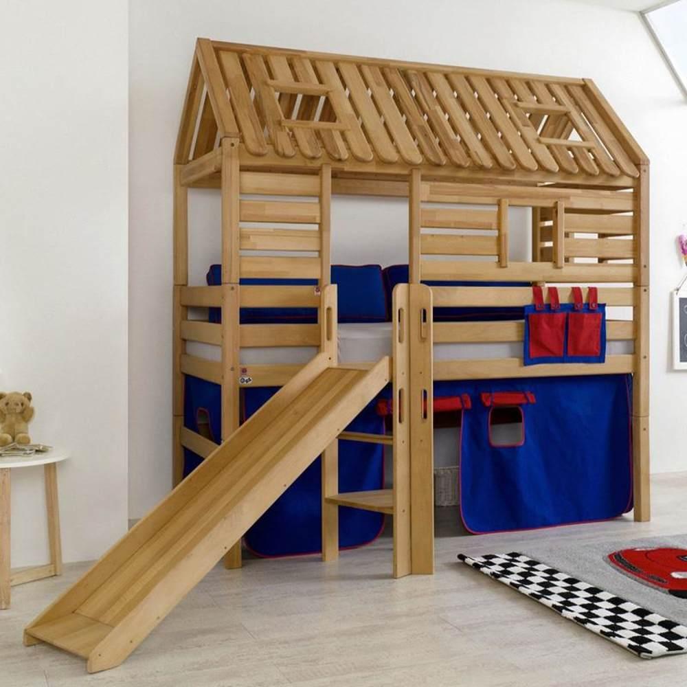 Spielbett Tom´s Hütte und Bett Eliyas mit Rutsche und Textilset, Buche massiv geölt Bild 1