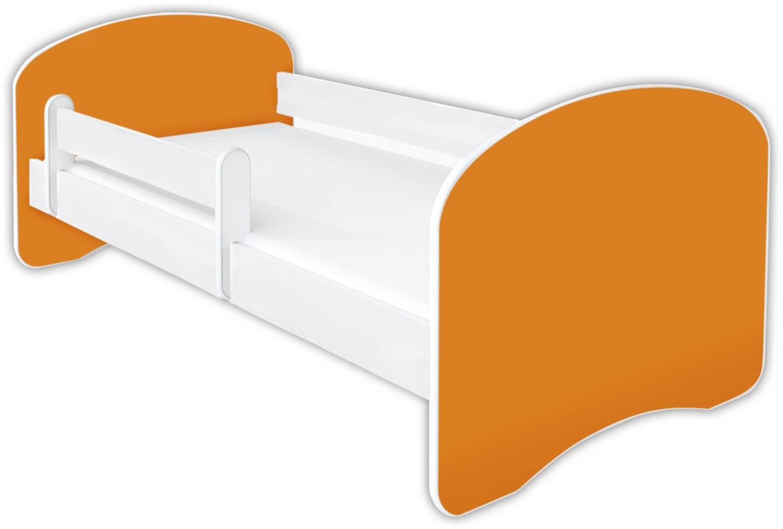 Kinderbett Babybett Jugend, Gitterbett mit Matratze, Schlummerland 2021_Uni Clamaro 160 x 80 cm, Ohne Schublade, Orange Bild 1