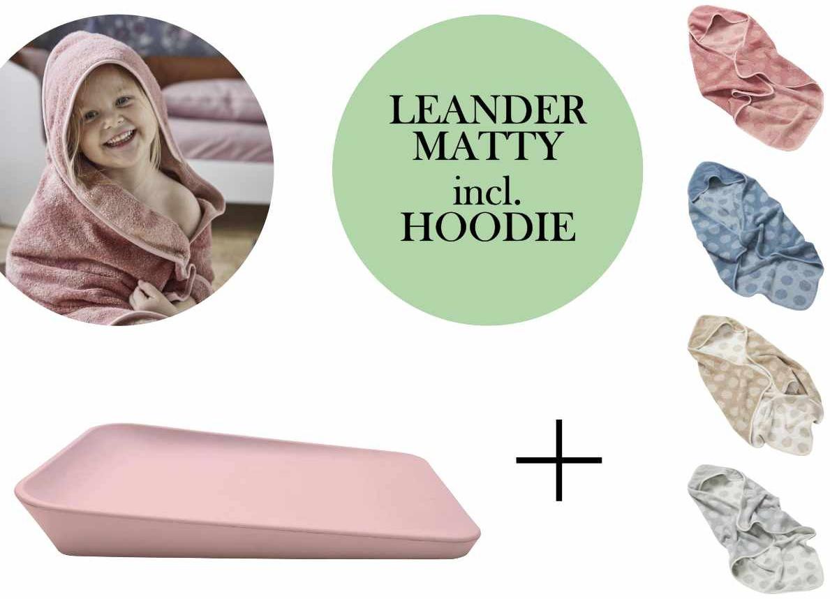 Leander Matty Wickelauflage + Hoodie Kapuzenhandtuch + Gratis Topper Soft Pink Cool Grey Bild 1