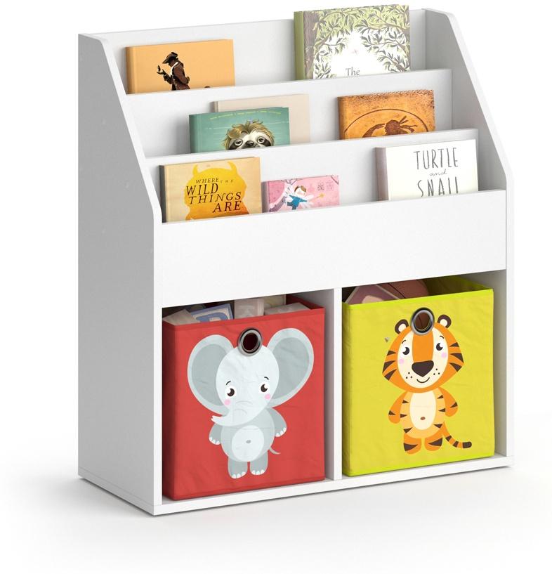 Vicco 'LUIGI' Kinderregal, weiß, mit 3 Fächern für Bücher und 2 Fächern für Faltboxen Bild 1