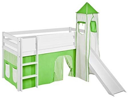 Lilokids 'Jelle' Spielbett 90 x 190 cm, Grün Beige, Kiefer massiv, mit Turm, Rutsche und Vorhang Bild 1