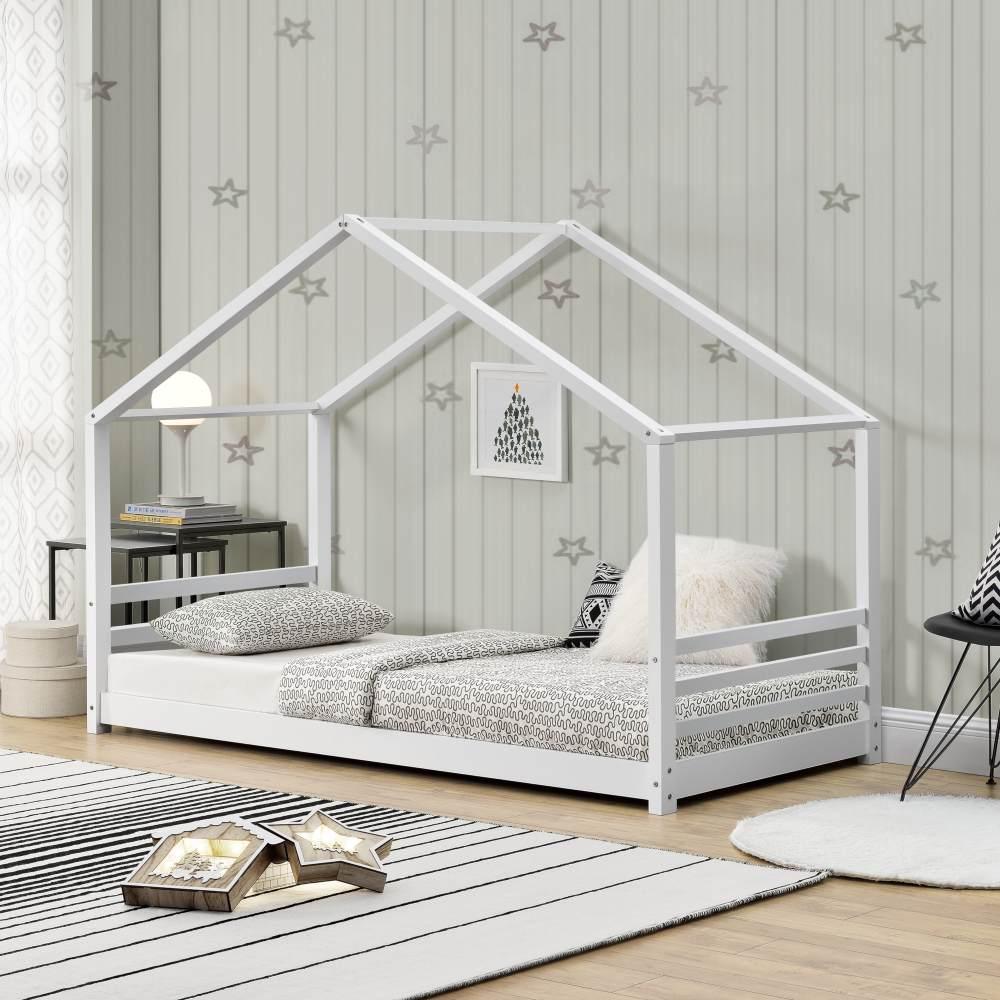 [en.casa] Hausbett Weiß 90x200cm, Kiefernholz, inkl. Lattenrost Bild 1