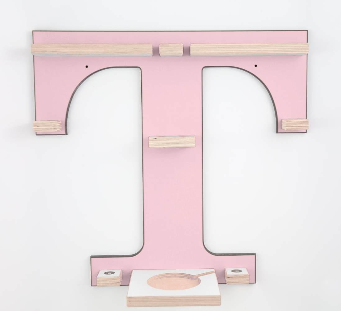 Schreinerei Linden 'Buchstabe T' Tonie Regal mit Musikboxhalter, rosa Bild 1