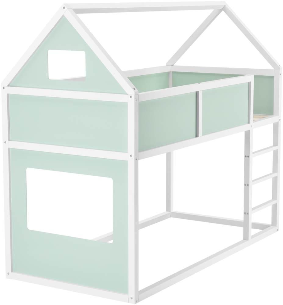 en.casa Hausbett 90x200cm weiß/mintgrün, inkl. Lattenrost Bild 1