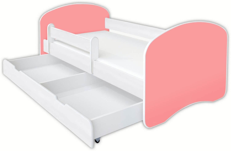 Clamaro 'Schlummerland UNI' Kinderbett 80x160 cm, Rose 2, inkl. Lattenrost, Matratze, Rausfallschutz und Schublade Bild 1