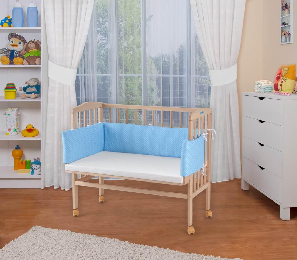 WALDIN Beistellbett mit Matratze, höhenverstellbar, Große Liegefläche, Ausstattung Punkte-blau, Gestell Natur unbehandelt Bild 1