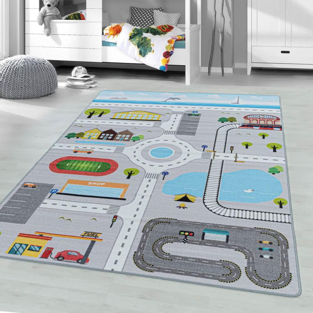 Kinderzimmer Kinderzimmerteppich 140x200 Grau Bild 1