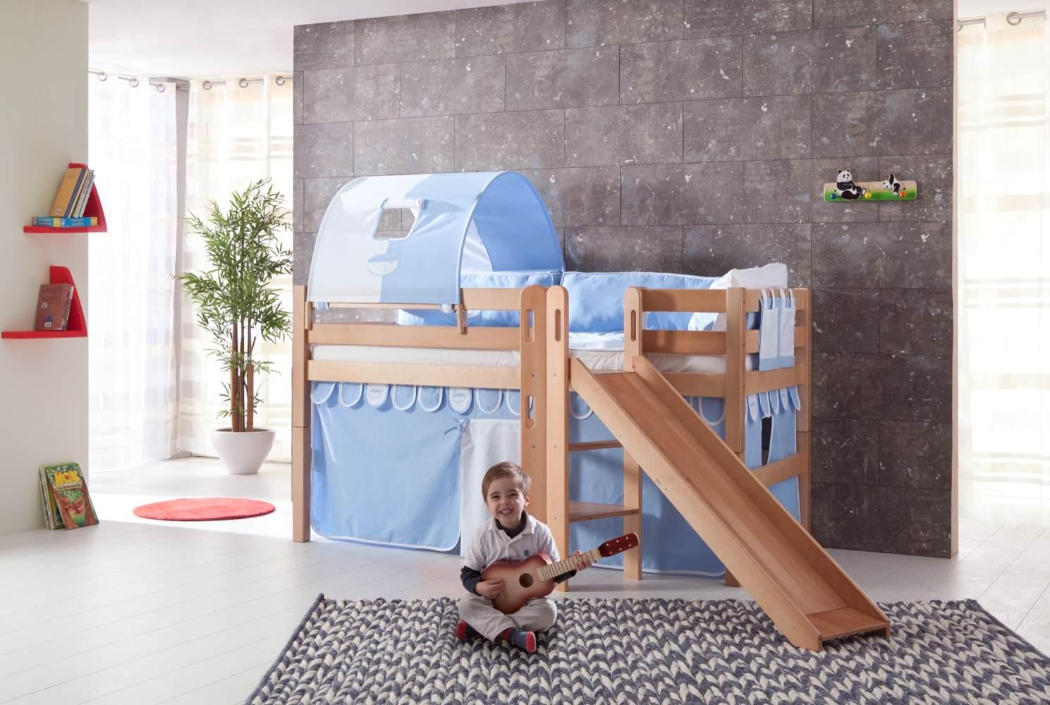 Relita 'Eliyas' Spielbett natur inkl. Rutsche und Textilset Vorhang, 1-er Tunnel und Tasche 'blau/boy' Bild 1