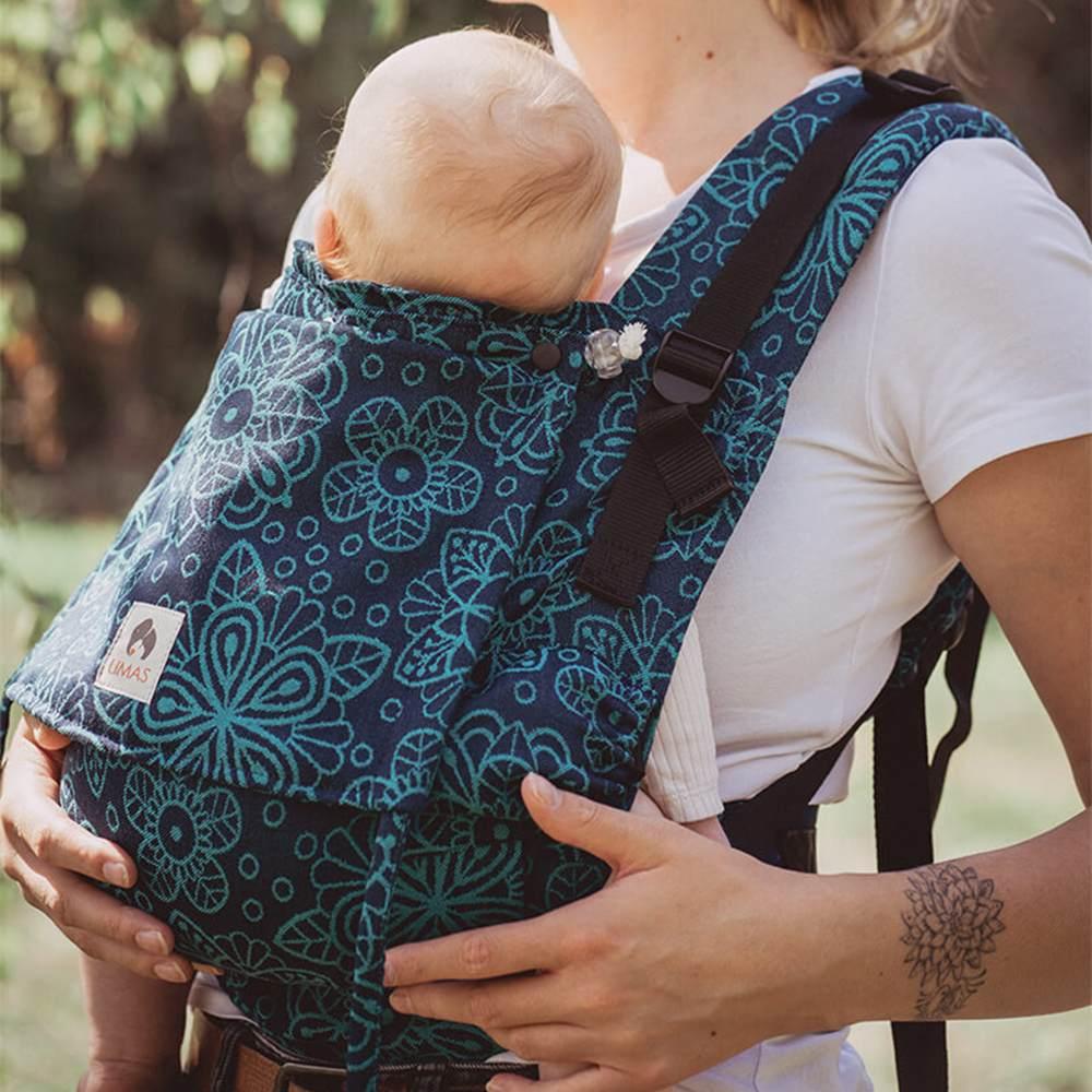 LIMAS Flex Babytrage Fullbuckle | 56 – 104 cm | Bauchtrage & Rückentrage & Onbuhimo | ab 2. -3. Monate bis 3+ Jahre | Baby Carrier | Mandala Ocean Bild 1