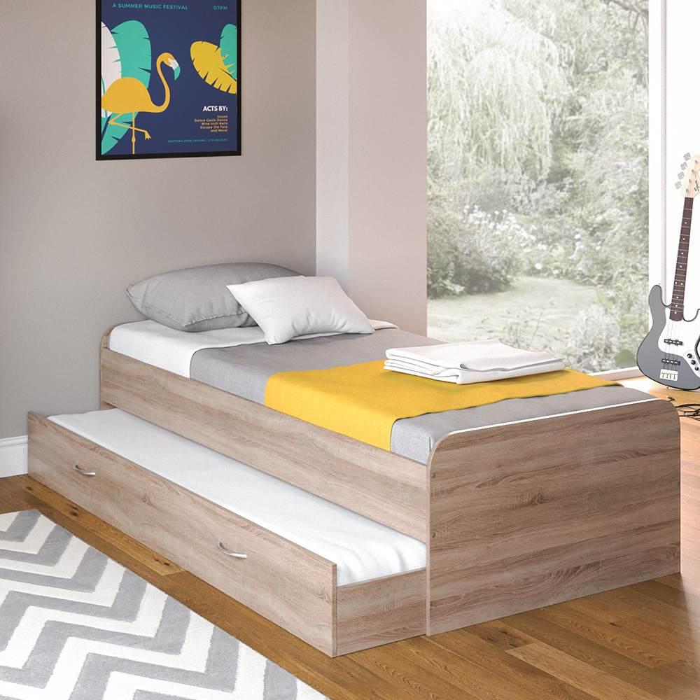 VitaliSpa 'Enzo' Bett Sonoma Eiche, 90 x 200 cm, mit ausziehbaren Zweitbett Bild 1