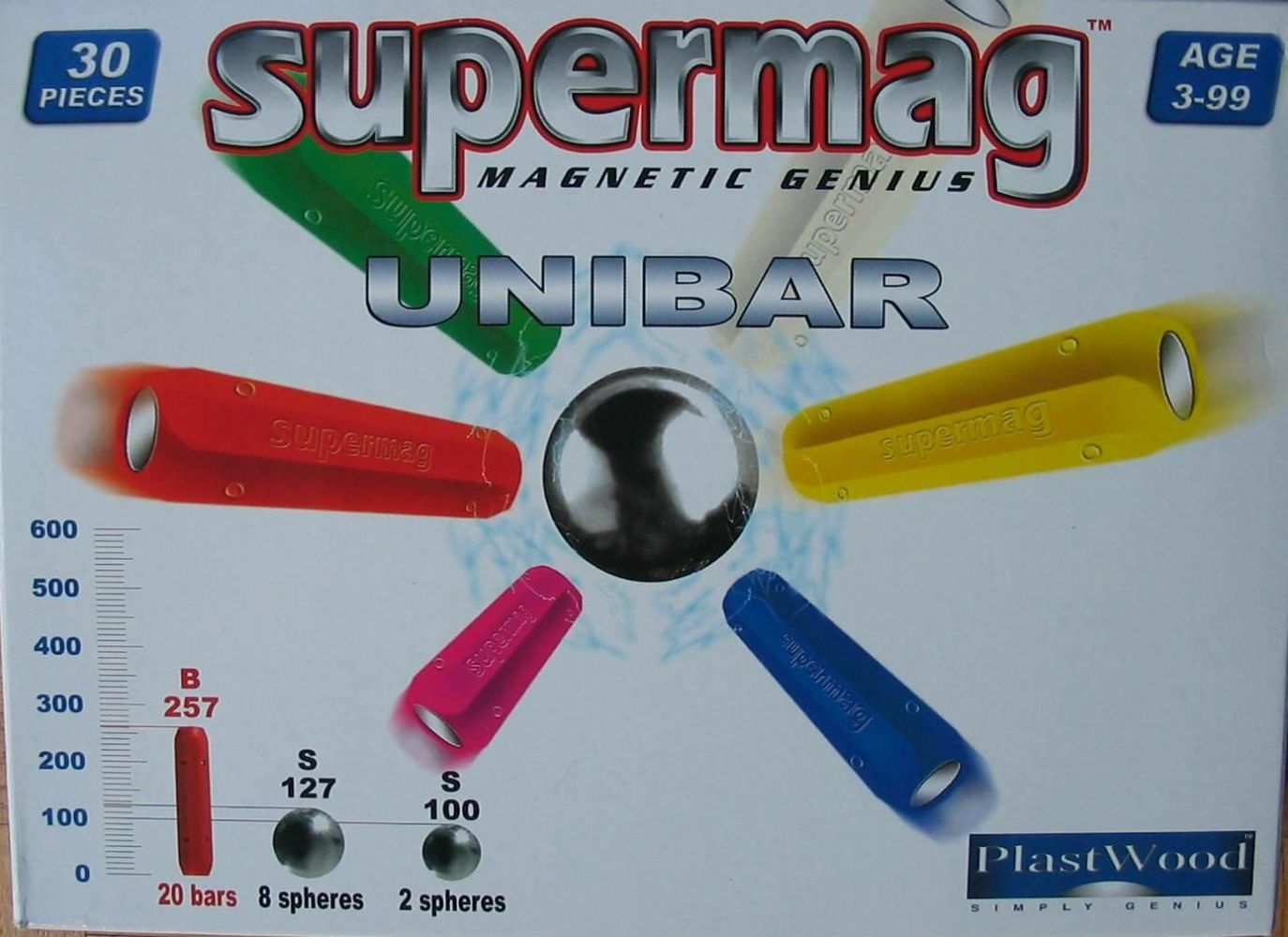 Supermag Magnet-Konstruktionskasten UNIBAR 30 Teile (Farbe: Blau) Bild 1