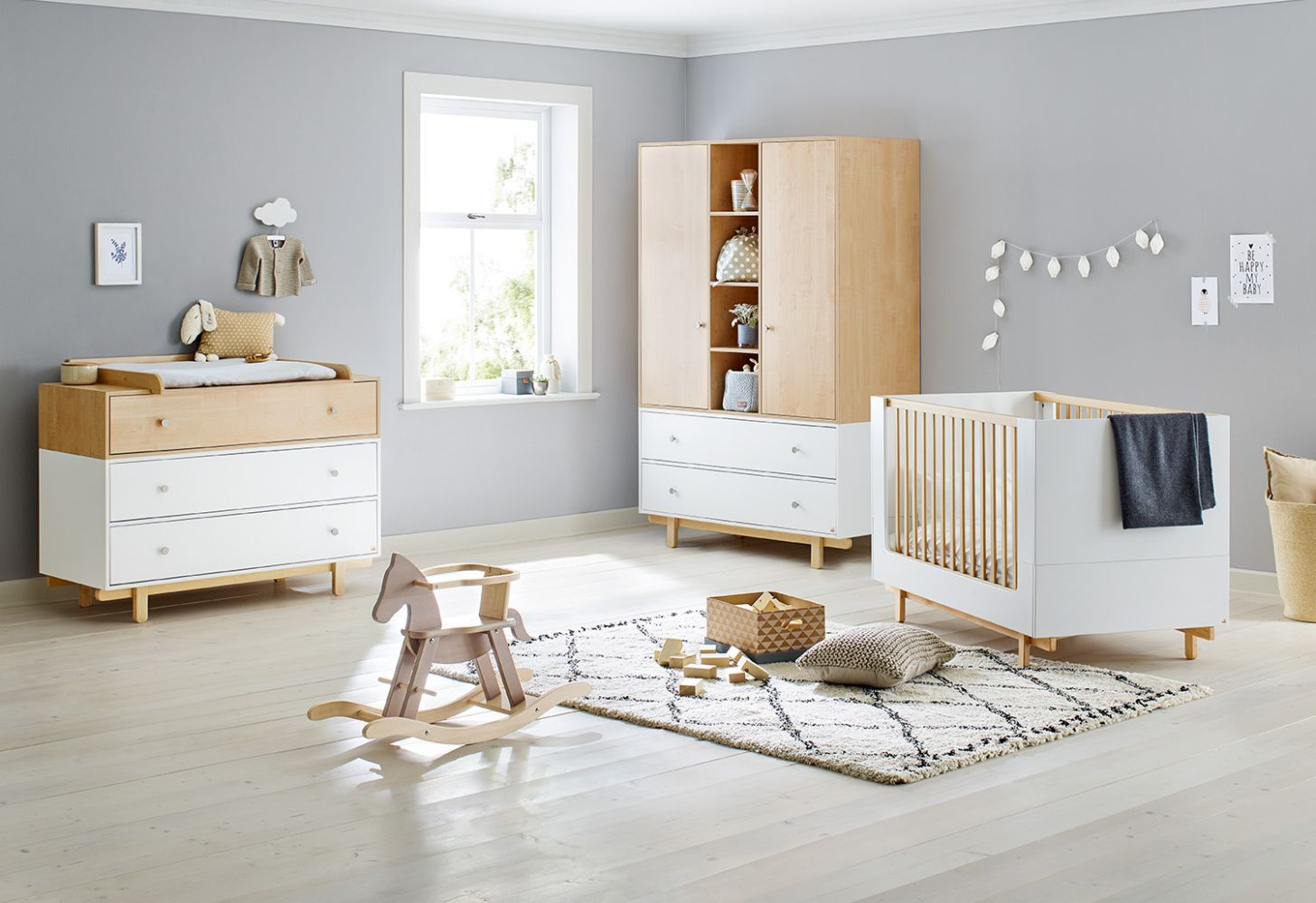 Pinolino 'Boks' 3-tlg. Babyzimmer-Set natur/weiß Bild 1