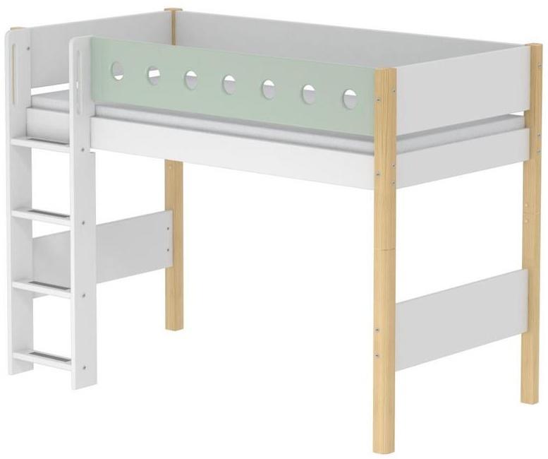 Flexa 'White' Halbhochbett weiß/natur/mint, gerade Leiter, 90x200cm Bild 1