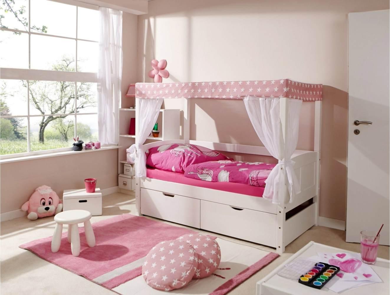 Ticaa 'Mini' Himmelbett weiß, Stern rosa, inkl. Bettkasten 'Melanie' 80x160 Bild 1