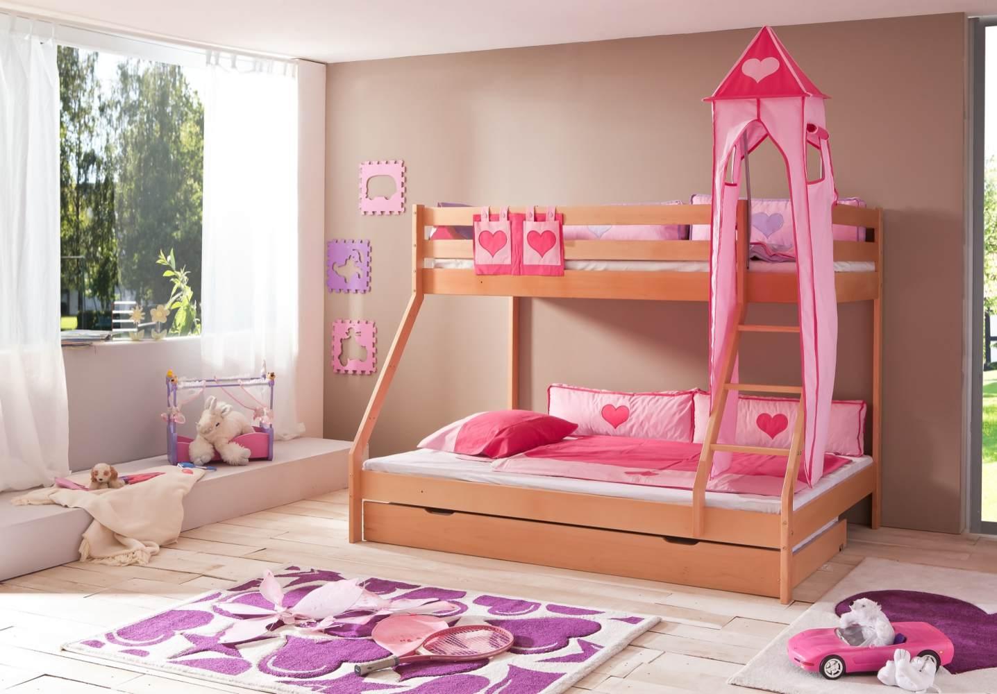Relita 'Mike' Etagenbett natur, inkl. Bettschublade und Textilset Turm und Tasche 'pink/herz' Bild 1