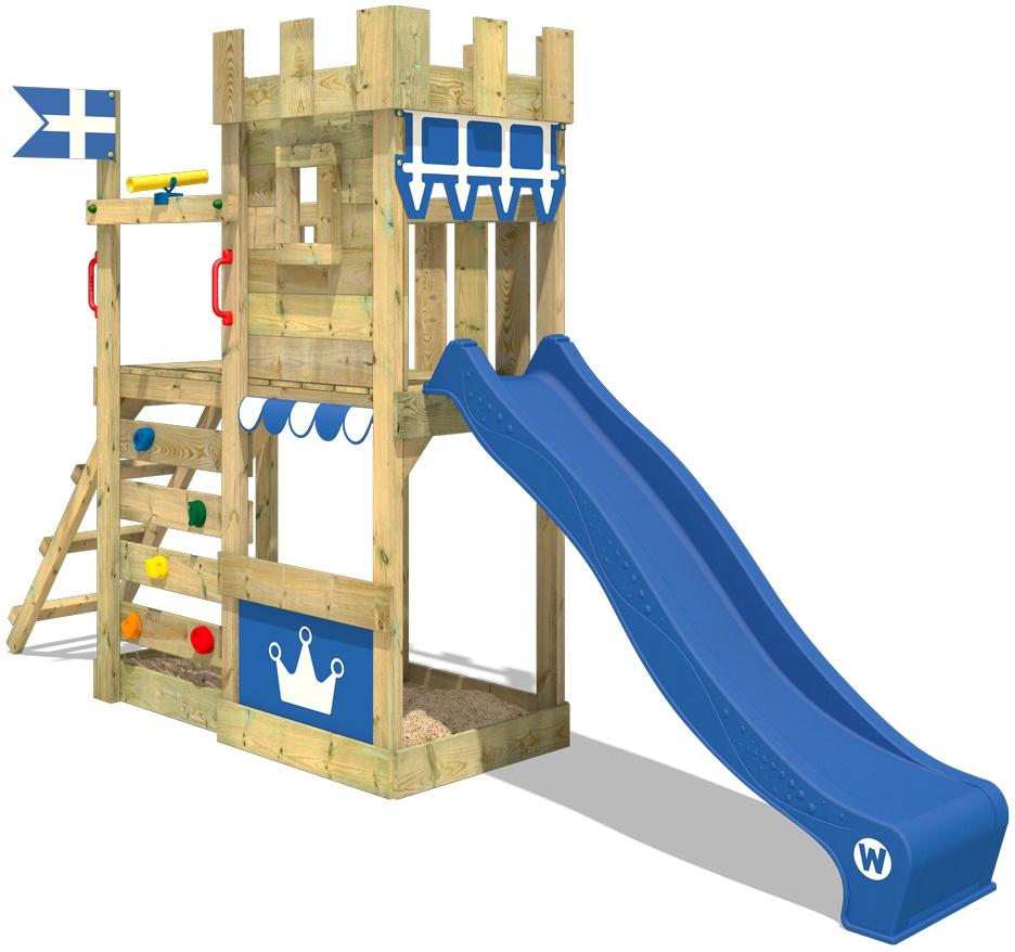 WICKEY Spielturm Ritterburg CannonFlyer mit blauer Rutsche, Spielhaus mit Sandkasten, Kletterleiter & Spiel-Zubehör Bild 1