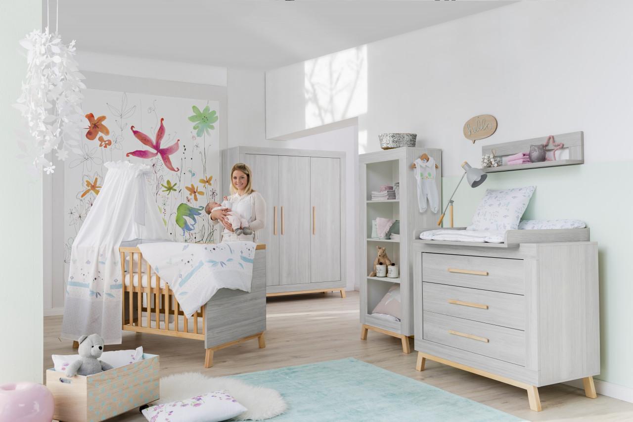 Schardt 'Miami Grey' 3-tlg. Babyzimmer-Set, grau, 3-türiger Schrank Bild 1