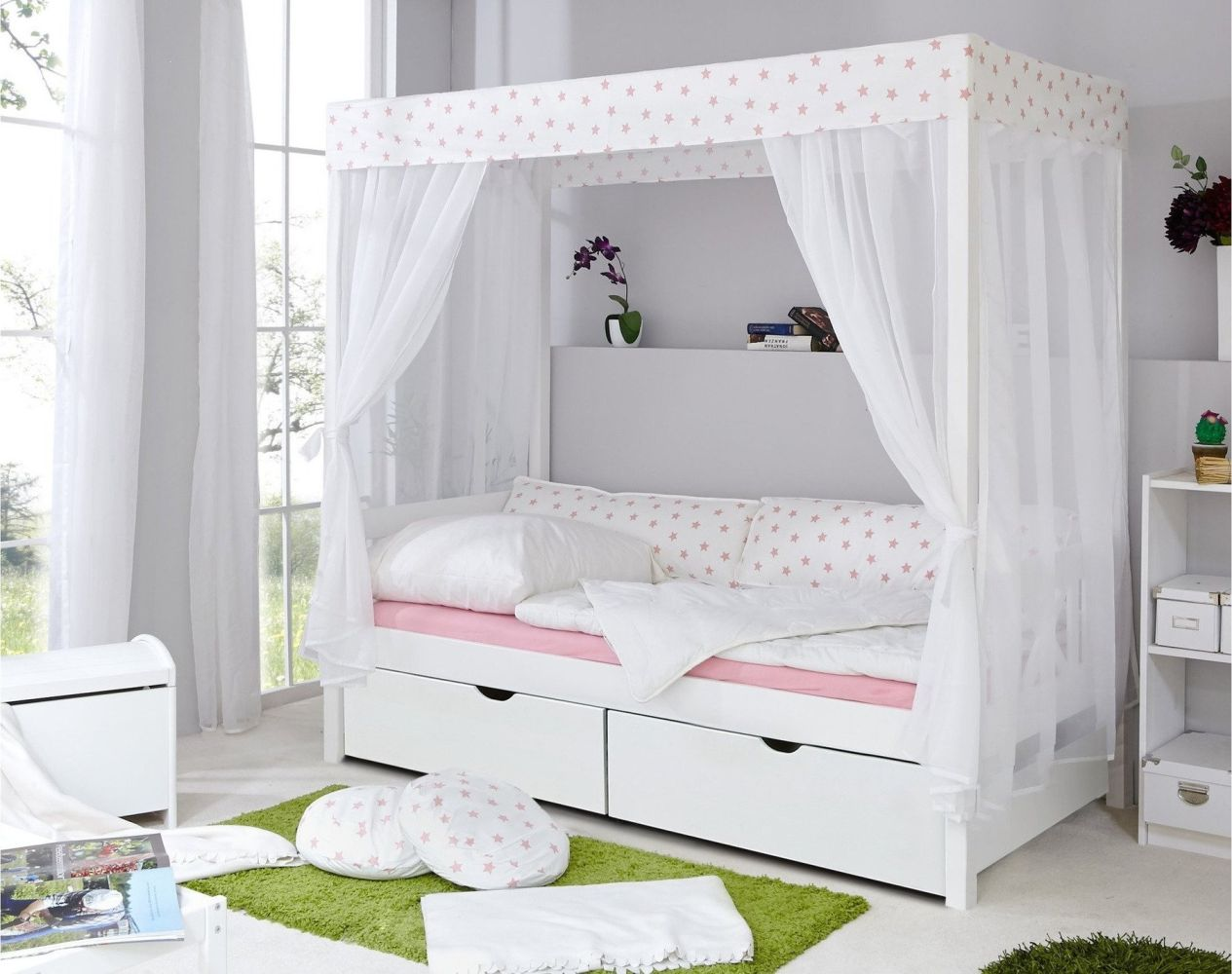 Ticaa 'Weiß-Rosa' Himmelbett 310 Kiefer Weiß inkl. Bettkasten 'Melanie' 90x200 Bild 1