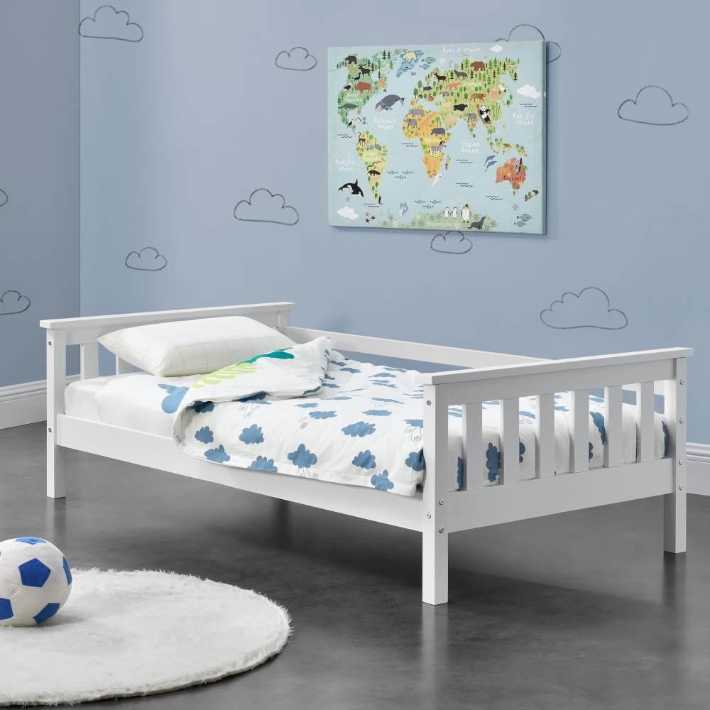 en.casa Kinderbett aus Kiefernholz mit Lattenrost und Rausfallschutz, 70x140 cm, weiß Bild 1