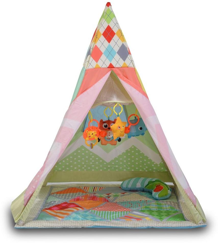 Moni Kinderzelt Tipi, 2 in 1 Krabbeldecke Mobile Kissen Netzfenster ab 6 Monaten rot Bild 1