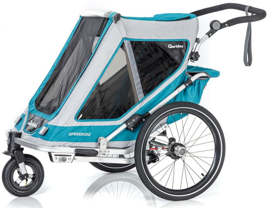 Qeridoo 'Speedkid2' Fahrradanhänger 2020, Petrol, 2-Sitzer Bild 1