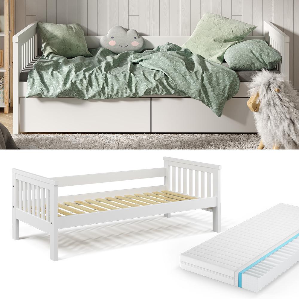 VitaliSpa 'Luna' Kinderbett, weiß, 90x200cm, inkl. Matratze Bild 1