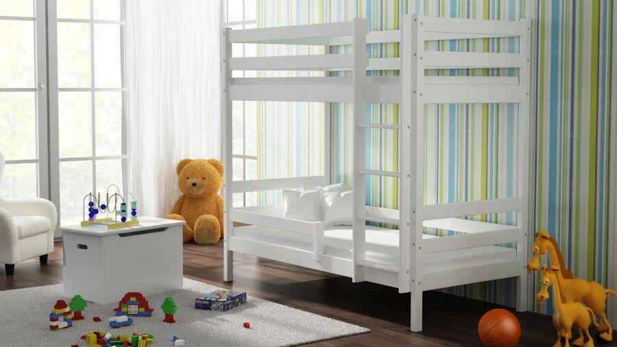 Kinderbettenwelt 'Peter' Etagenbett 80x190 cm, weiß, Kiefer massiv, inkl. Lattenroste Bild 1