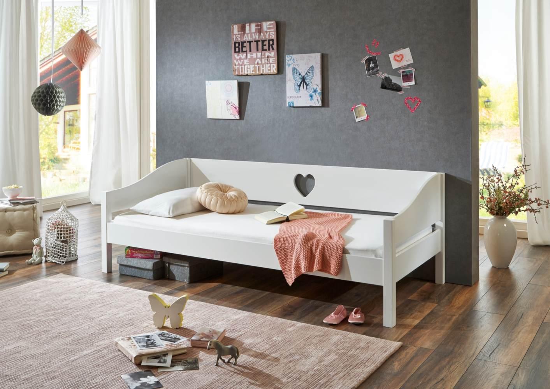 Einzelbett Elsa 90 x 200 MDF weiß lackiert Bild 1