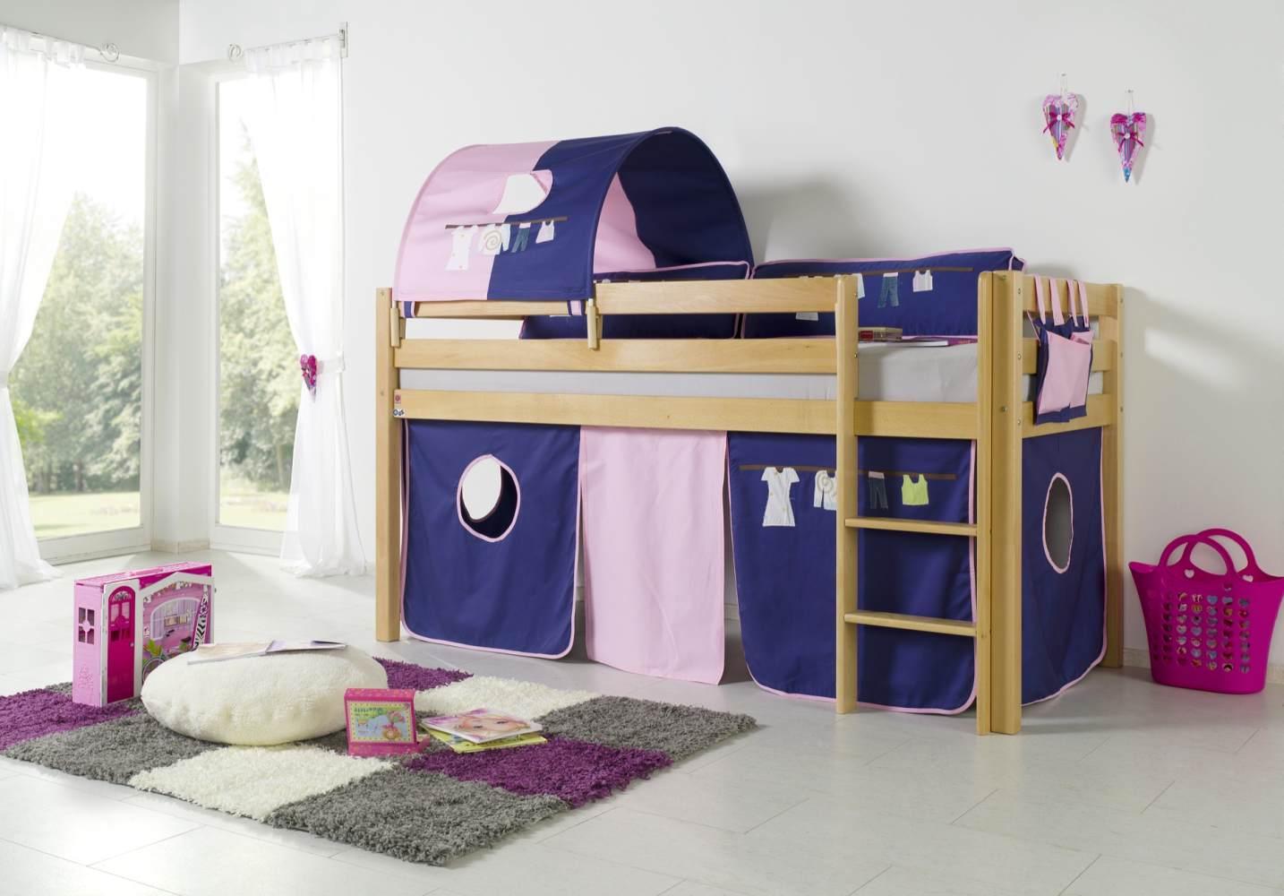 Relita Halbhohes Spielbett ALEX Buche massiv natur lackiert mit Stoffset Kleider Bild 1