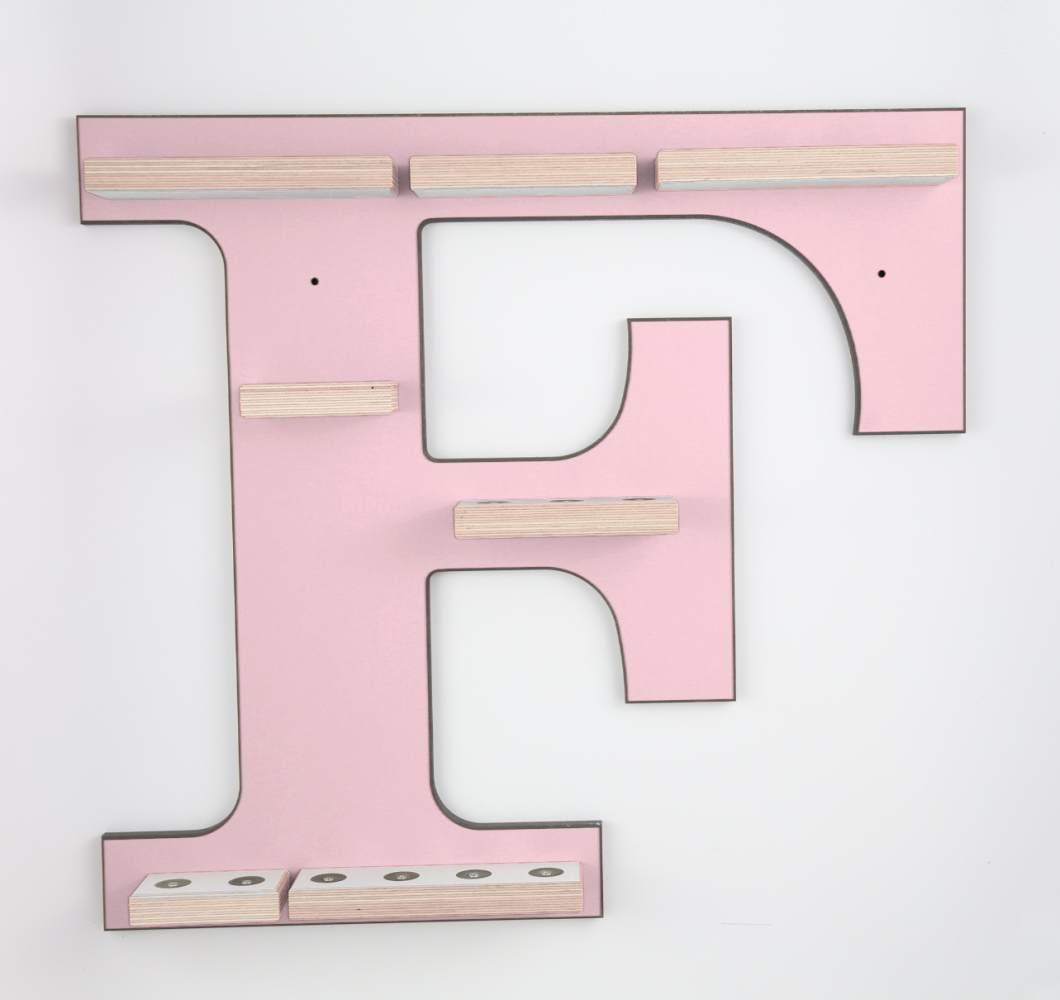 Schreinerei Linden 'Buchstabe F' Tonie Regal ohne Musikboxhalter, rosa Bild 1