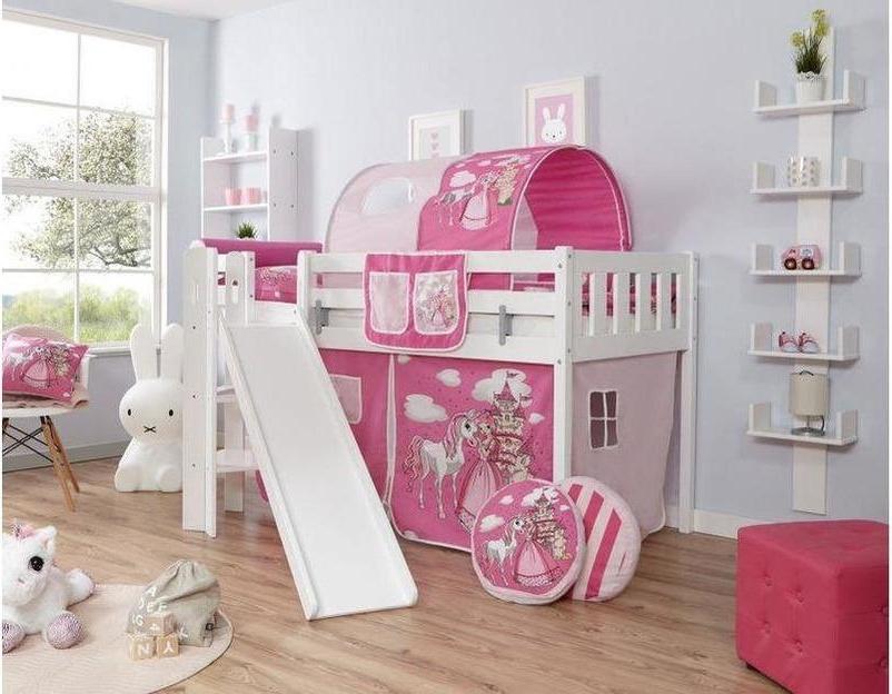 Ticaa 'Ekki' Podestbett Vertikal Buche Weiß, 90 x 200 cm, Vorhang Horse-Pink (Ausführung 1) Bild 1