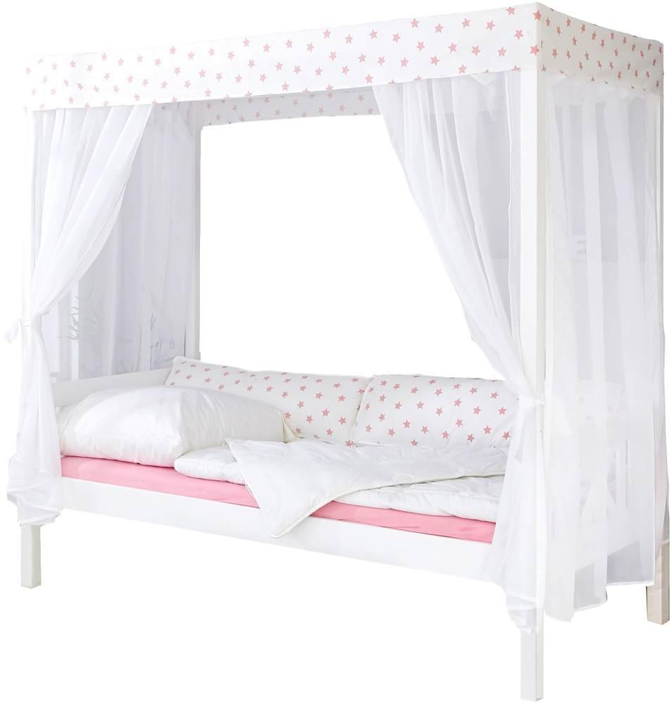 Ticaa 'Weiß-Rosa 310' Himmelbett Kiefer Weiß 90x200 Bild 1